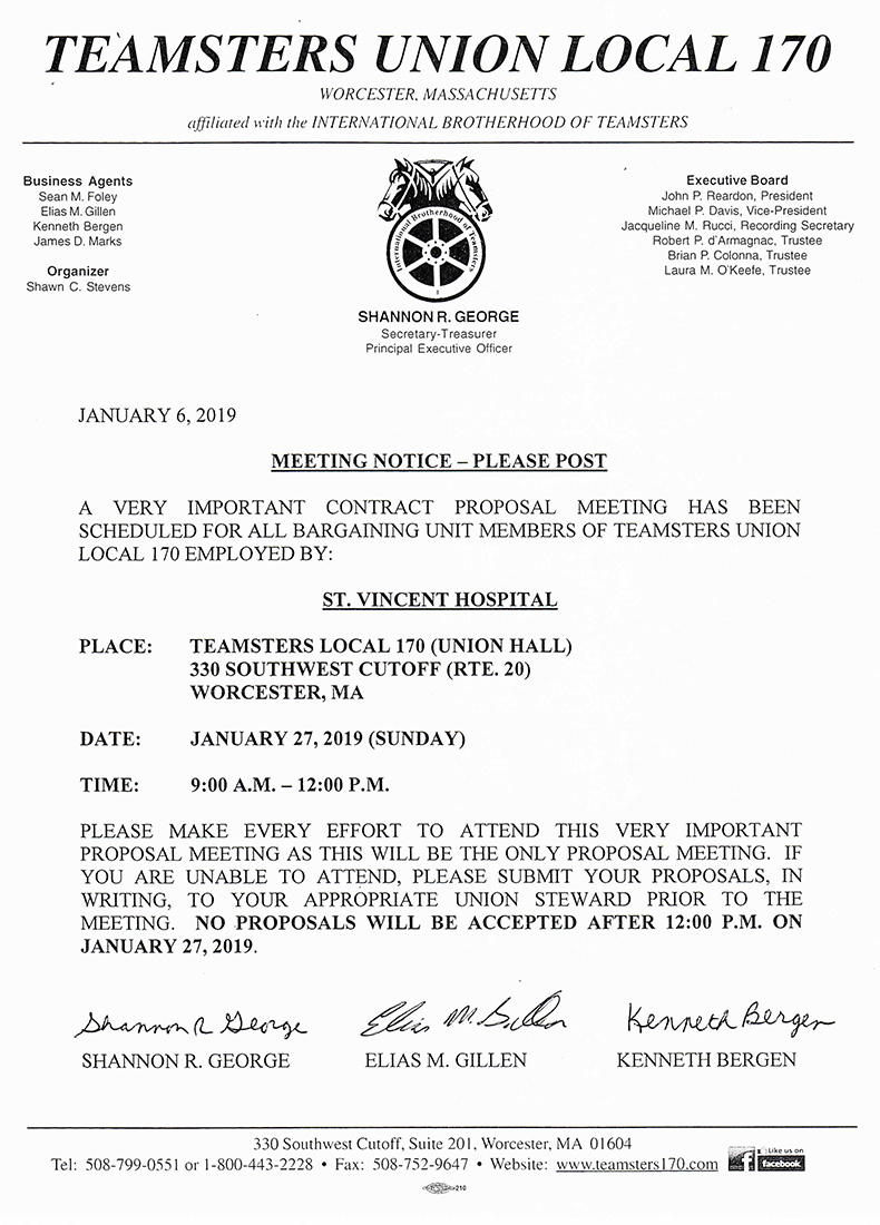 Teamsters Local 170   St  Vincent Hospital: Meeting Notice